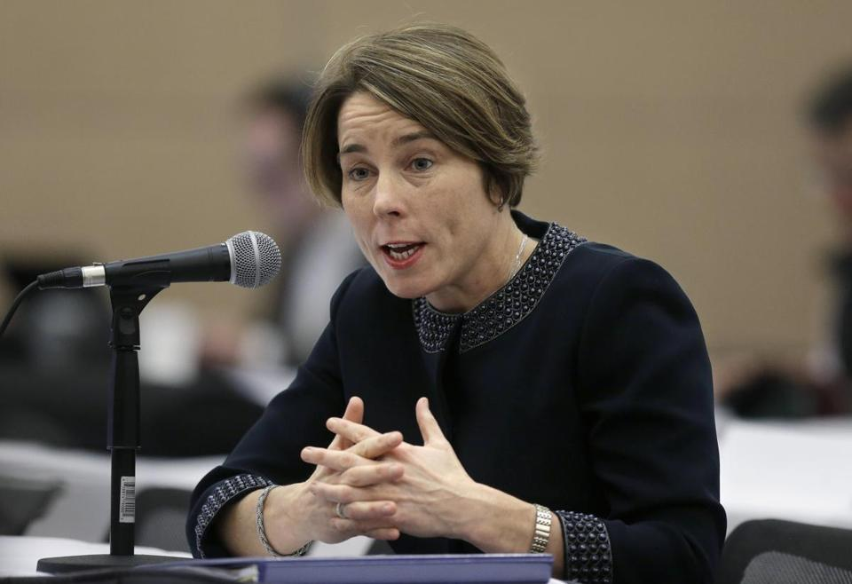 Massachusetts Attorney General Maura Healey testifies before the Massachusetts Gaming Commission, Thursday, Jan. 22, 2015, in Boston. Wynn Resorts unveiled its proposed new designs for a casino in Everett, Mass., at the meeting of the commission Thursday. (AP Photo/)